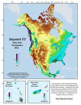 Daymet Version 3 Annual Total Precipitation, 2012