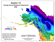 Daymet V3 Average Annual Tmax – Alaska and NW Canada image